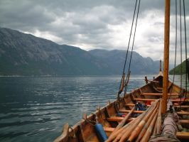 Lysefjorden on vikingboat 01 by Nidhoggr