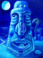 Moonlit Moai-Blockhead 1 by rawjawbone