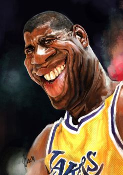 Earvin Magic Johnson caricature by jupa1128