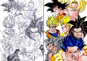 Goku All Forms by Gothax
