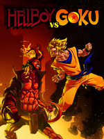 Hellboy vs Goku by kajinman