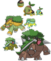 387, 388 and 389 - Turtwig Evolutionary Family by Tails19950