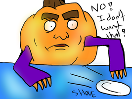 Hungry Pumpkin hates doing dishes by Skoryx