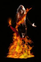 Dancing in the fire with the red salamander by Artculpit