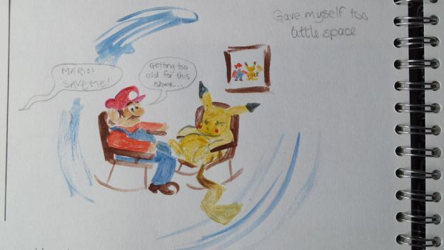 Mario and Pikachu - Too old for this S*** by AmyTheStrange1