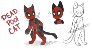 Dead pool cat doodles by Tea-cup-kitty
