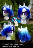 DJ Pon3 Wig Tail Ears Horn Glasses Set by bluepaws21