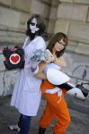 Portal 2 cosplay (test subject and cube) by CaptainKaktus