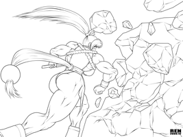 Masami crushes the huge rock by RENtb