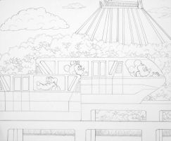 Line art Space Mt MonorailsWDW by WDWParksGal