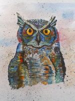 Owl watercolour. by Abilaunch