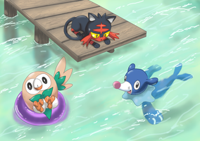 7 gen starters : Rowlett, Litten and Popplio by shinyscyther