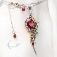 RAHXADROX - silver ,18 Ct yellow gold, ruby by LUNARIEEN