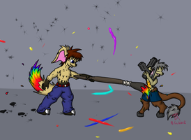 Paint vs. Pistols by DragynWulf