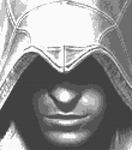 Ezio Auditore Black White Cross Stitch Pattern by shingorengeki