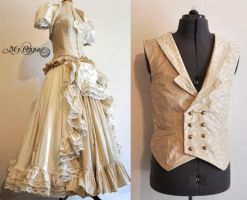 wedding dress and waistcoat (custom order :)) by myoppa-creation