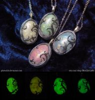 Ornate Glow in the Dark Opalescent Pendants by plasterfish