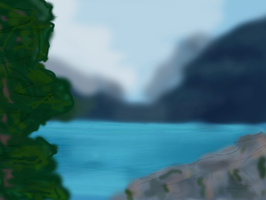 Lake in a valley- rough speed drawing by Hope2Fly