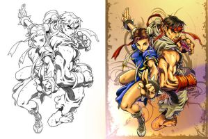 Ryu and Chun Lee By alvinlee by Champe-rp
