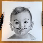 Salvador Dali Baby Pencil Drawing by AtomiccircuS