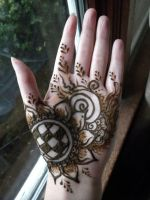 Henna Sunflower Hand by flowerwills