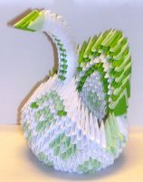 Green and White Swan - 3D Origami by SophieEkard