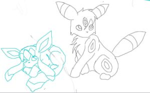 Umbreon Glaceon Lineart by Izumi-Kage