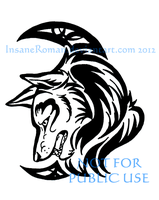 Wolf and Crescent Tribal by InsaneRoman