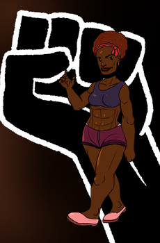 Cartoony Natural Haired African American Woman by alston123