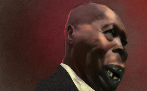 Arap Moi caricature painting w.i.p by Spoiler88