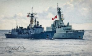 USS Rentz and HMCS Iroquois by ShawnaMac