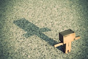 Danbo and his shadow by DesignJunkyGrafix