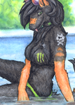 ACEO/ATC: Monster girl by Samantha-dragon