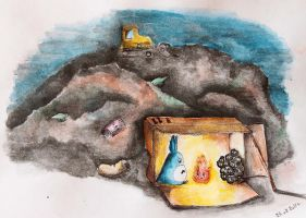 Totoro at the dump - sketch by veternity