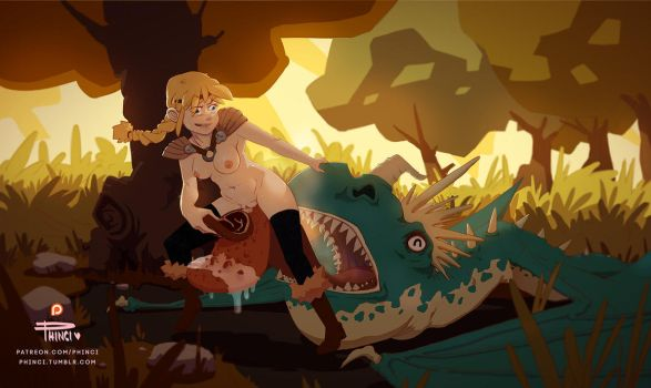 Astrid Hofferson 'training' Her Dragon by Phinci