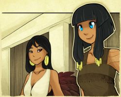 Isis and Neith (colored) by Resonance-crea