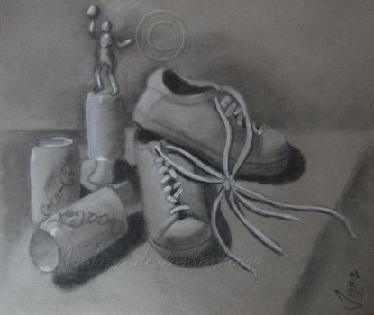 Shoes And Trophy Still Life by Joolissa