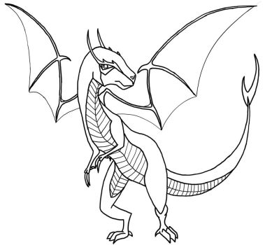 Dragon or Dinosaur Lineart by The-Disturbed-Angel