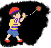 Ness Used His Yoyo by pink-keyblade-master