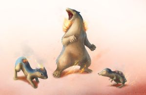 Cyndaquil, Quilava and Typhlosion by bodzi0x