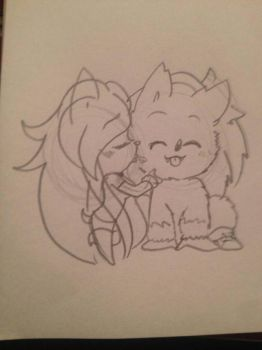 Chibi Melody and Chibi Sonic the Werehog by toxicthecat4836