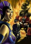 Evil Lyn VS Optimus Prime by acidlullaby