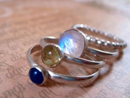 Sterling Stacking Rings II by sparkfairy