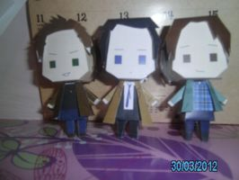 Dean Sam and Castiel Papercrafts by princess6590