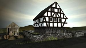 Medieval House Scene by CaronCC