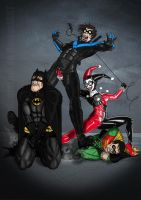 Harley Quinn VS Batman, Robin and Nightwing by nicetarget
