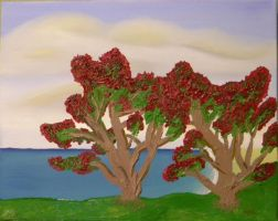 Seascape II: Pohutukawa Trees by GarrettBrothers