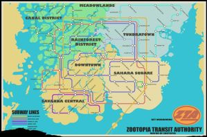Zootopia Transit Map - official Zootopia Artwork by icey1456