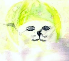 lime cat watercolor by ekprophile