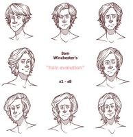 the Evolution of Sam Winchester's Hair by PotatoCrisp